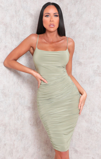 Sage Ruched Cowl Neck Bodycon Mini Dress - Sofie
