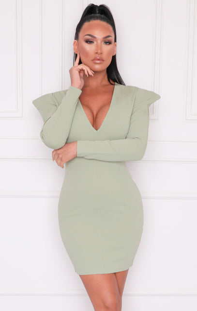 Sage Shoulder Pads Plunge Bodycon Mini Dress - Halima