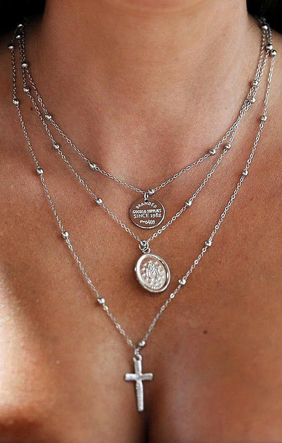 Silver Beaded Layered Renaissance and Cross Necklace - Isla