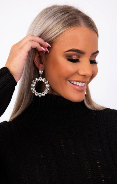 Silver Diamante Circle Drop Earrings - Yari