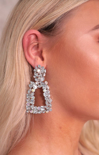Silver Diamante Door Knocker Drop Earrings - Lia