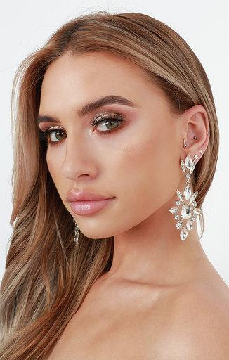 Silver Diamante Drop Earrings - Tina