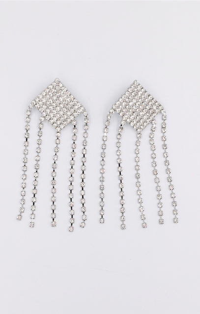 Silver Diamante Tassel Drop Earrings - Calli