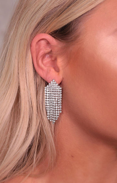 Silver Diamante Waterfall Drop Earrings - Mariana