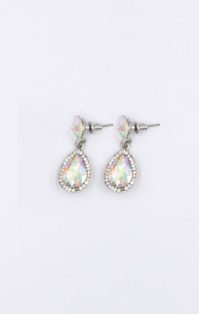 Silver Gemstone Diamante Drop Earrings - Billy