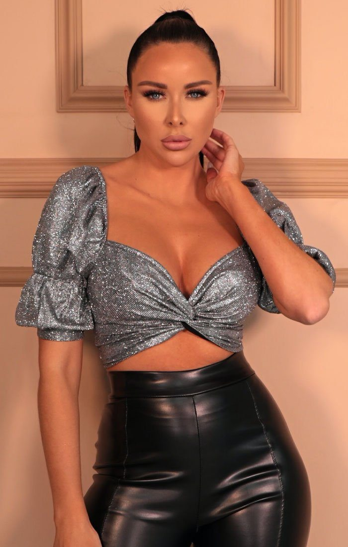 Silver Glitter Puff Sleeve Front Knot Top - Caroline
