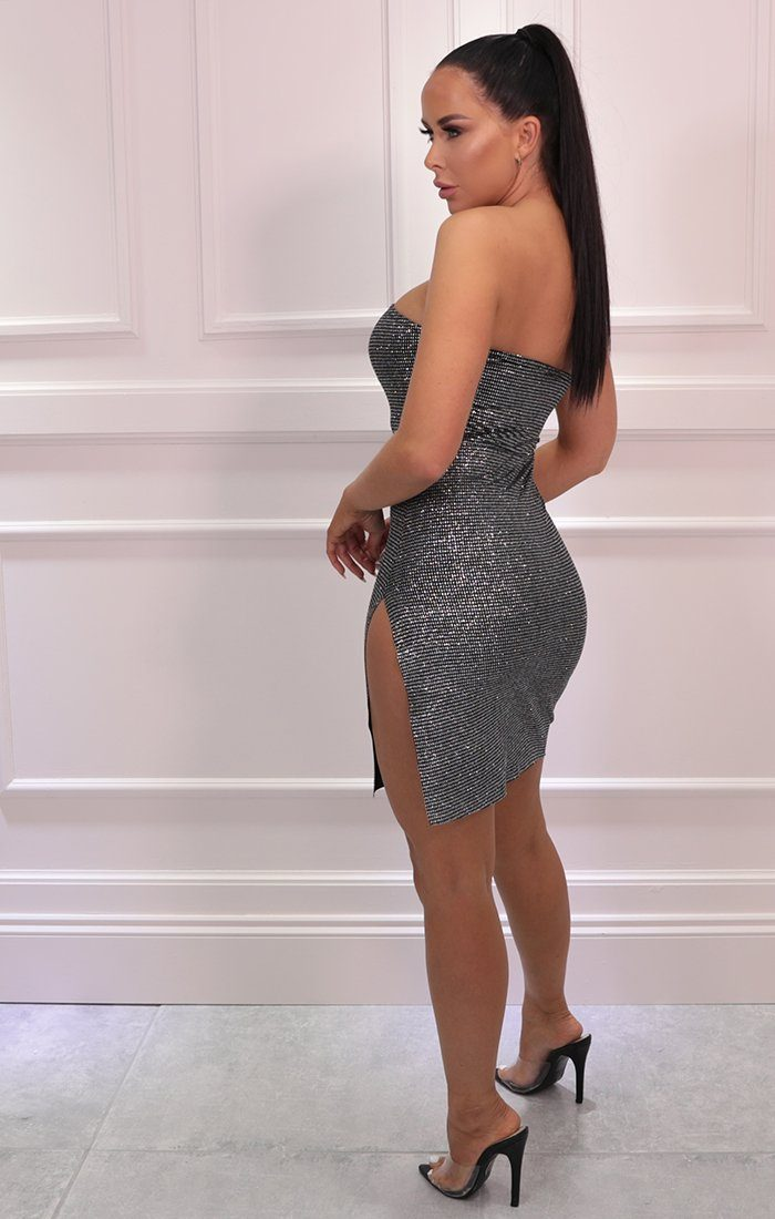 Silver Glitter Strapless Bodycon Mini Dress - Katrina
