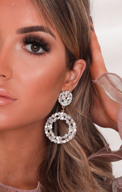 Silver & Gold Diamante Cluster Drop Earrings - Claire
