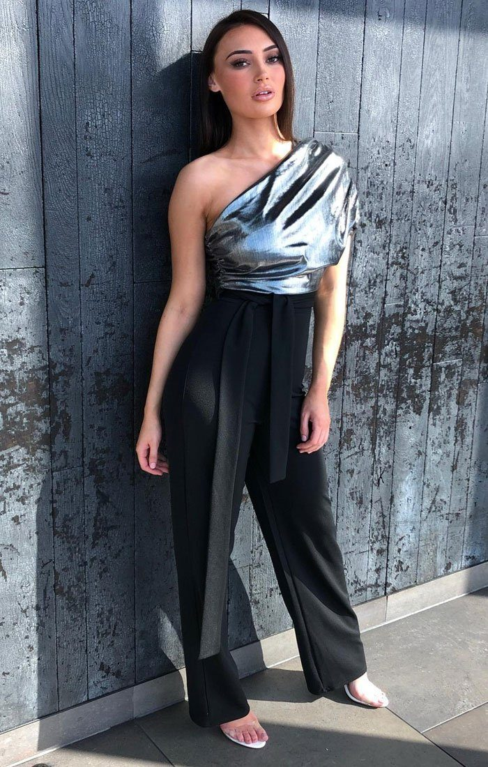 Silver Metallic One Shoulder Jumpsuit - Cassidy