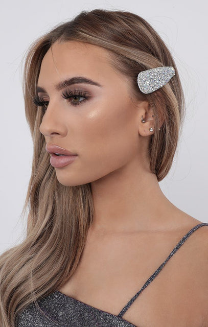 Silver Sparkle Rounded Hair Clip - Margot