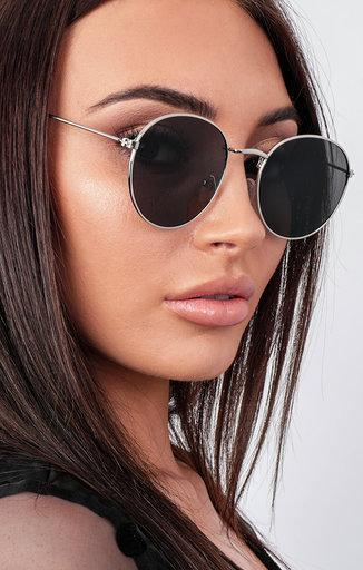 Silver Thin Frame Black Circle Sunglasses - Oleg