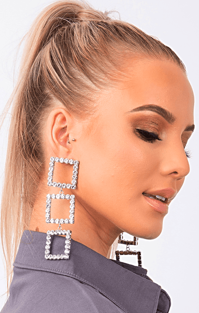 Silver Triple Square Diamante Drop Earrings - Lucie