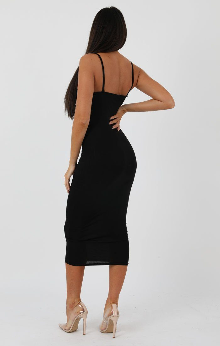 Black Square Neck Strappy Midi Dress - Carly