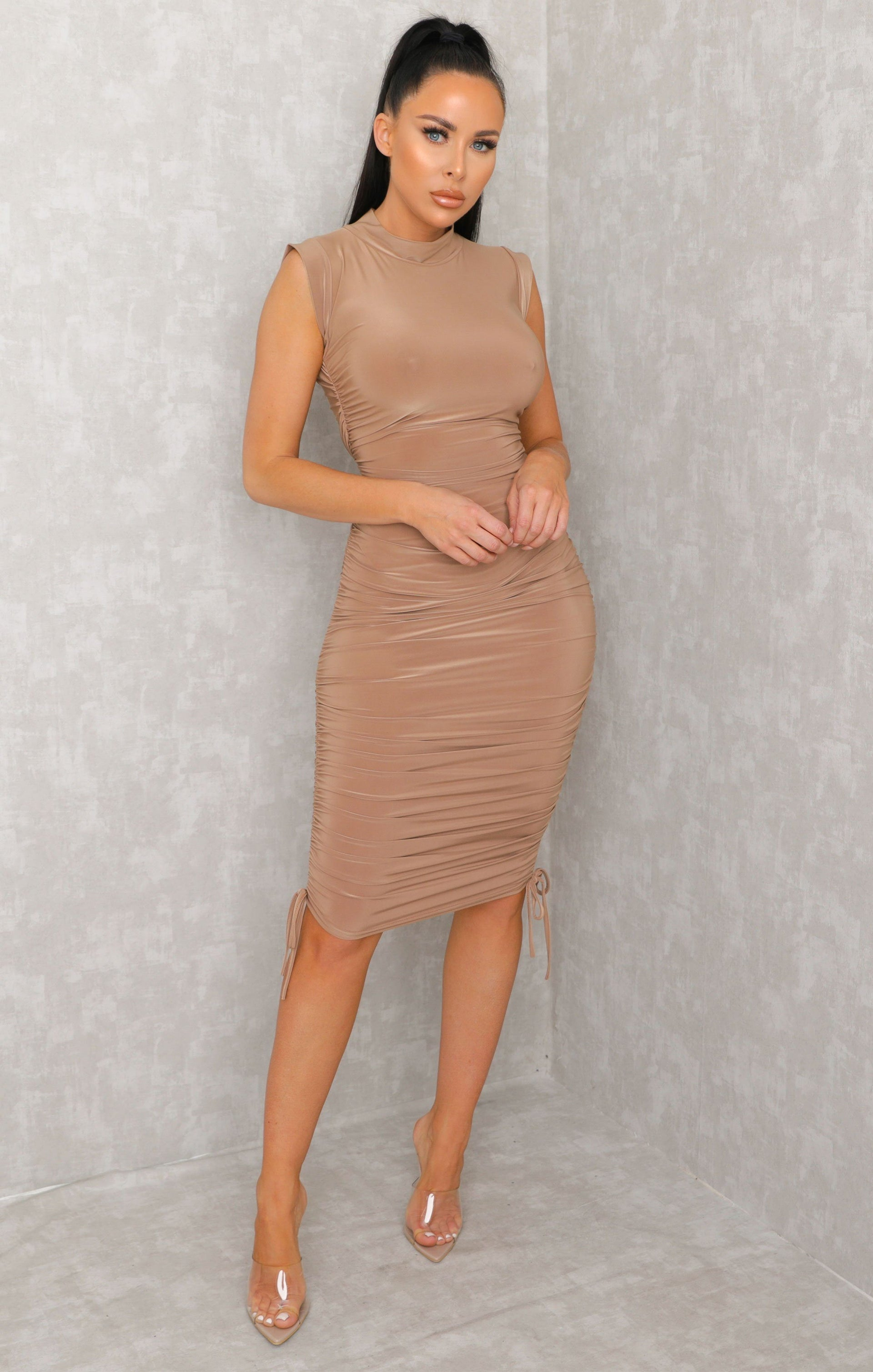 Stone Bardot Organza Sleeve Bodycon Mini Dress - Kaya