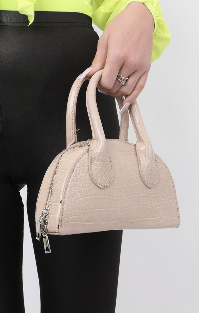 Stone Croc Half Circle Cross Body Bag - Jenna