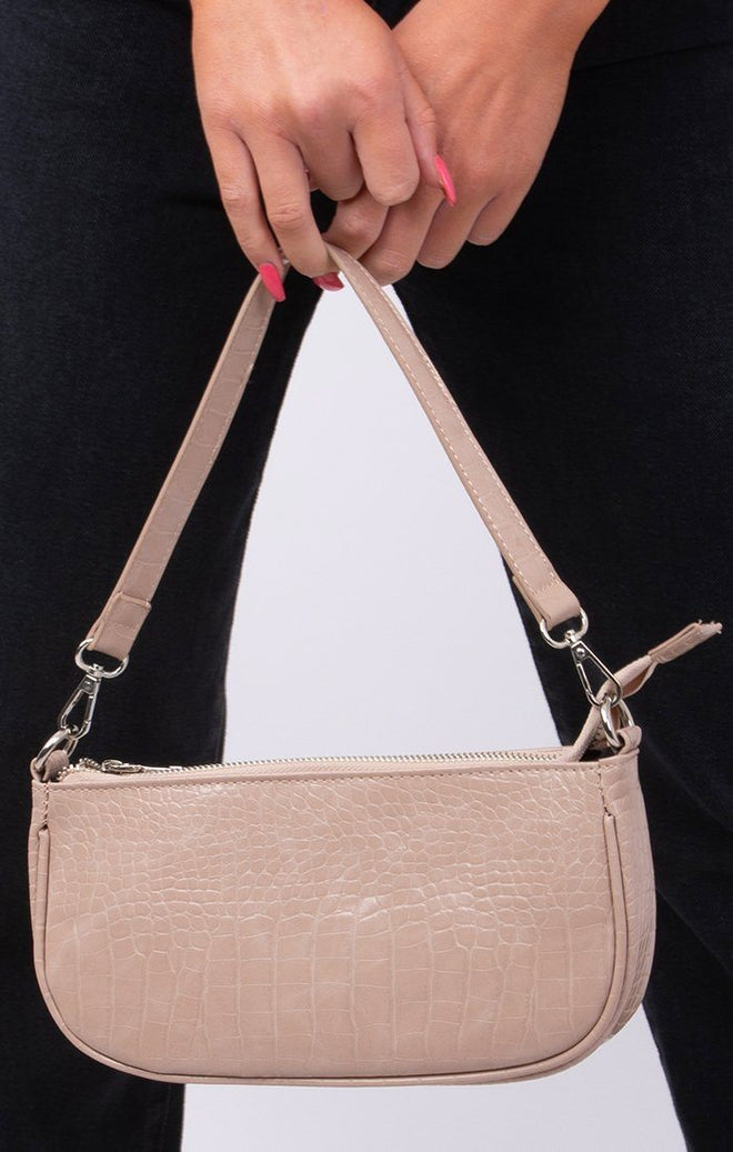 Stone Croc Print Shoulder Strap Bag - Gina