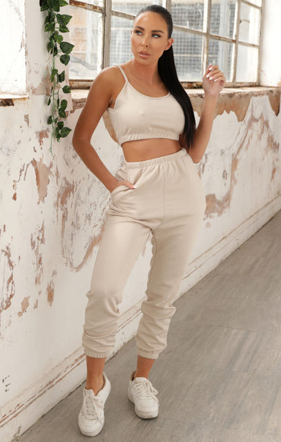 Stone Jacquard Crop Top & Joggers Co-ord - Lilly