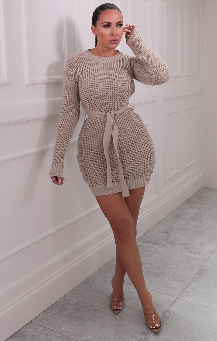 Stone Knitted Belted Mini Jumper Dress - Peach