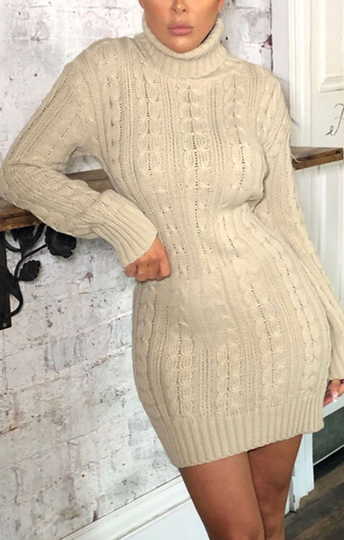 Stone Knitted Long Sleeve Bodycon Jumper Dress - Alida