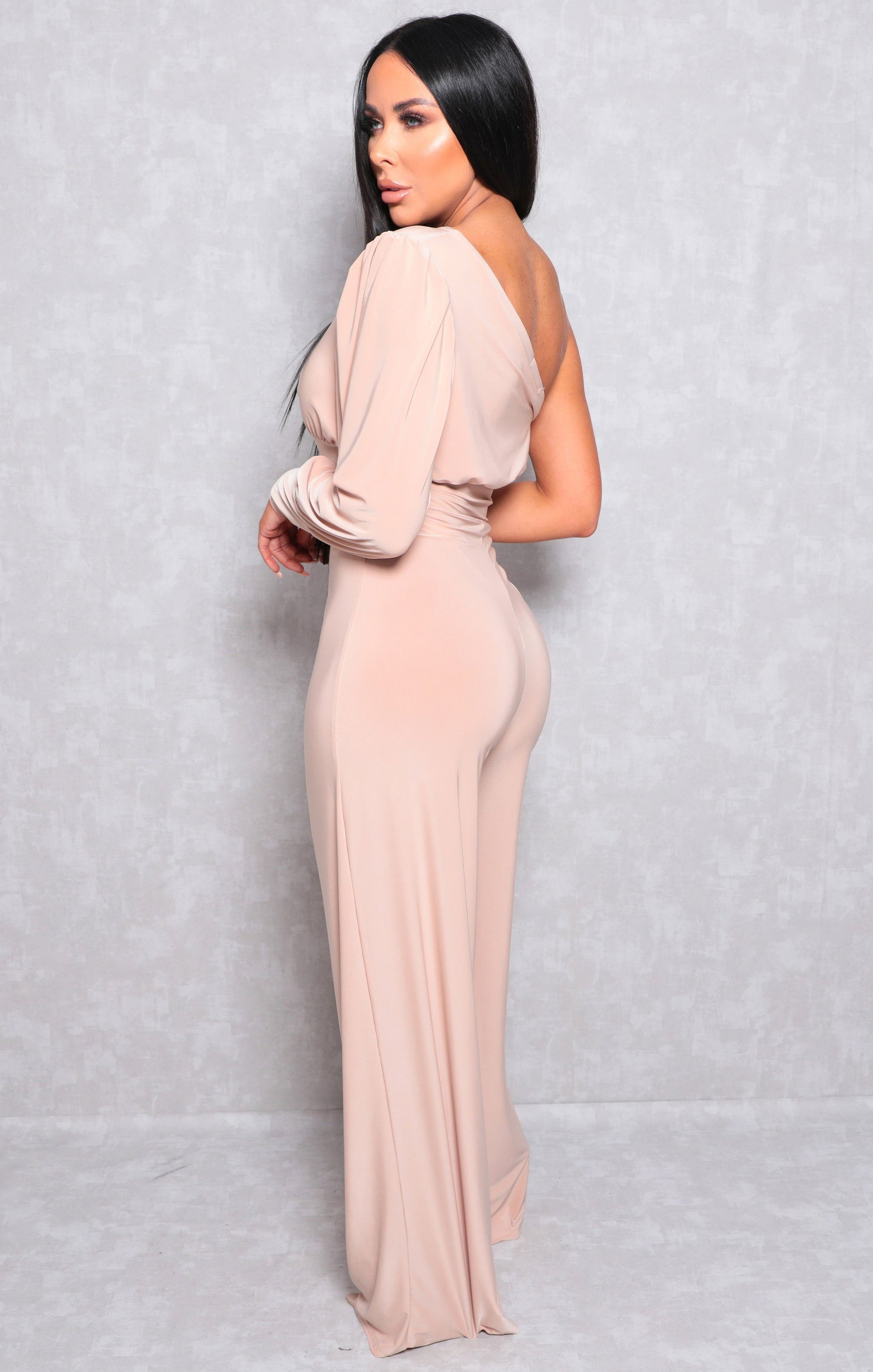 Stone One Shoulder Straight Leg Slinky Jumpsuit - Poppy