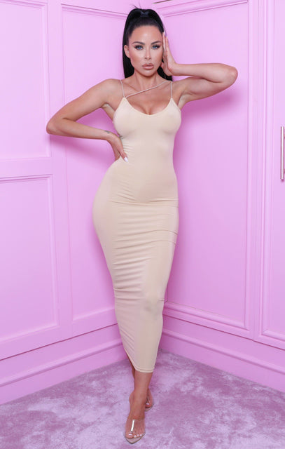 Stone Plunge Slinky Bodycon Maxi Dress - Rossa