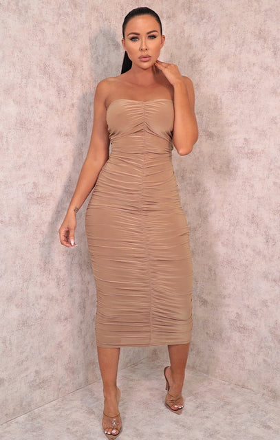 Stone Ruched Strapless Bodycon Midi Dress - Vita