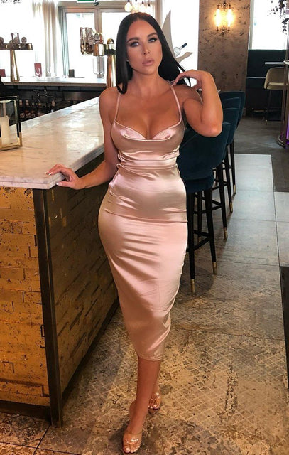 Stone Satin Cowl Neck Bodycon Midi Dress - Clarence