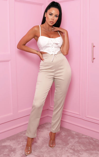 Stone Satin Cuffed Trousers - Mia
