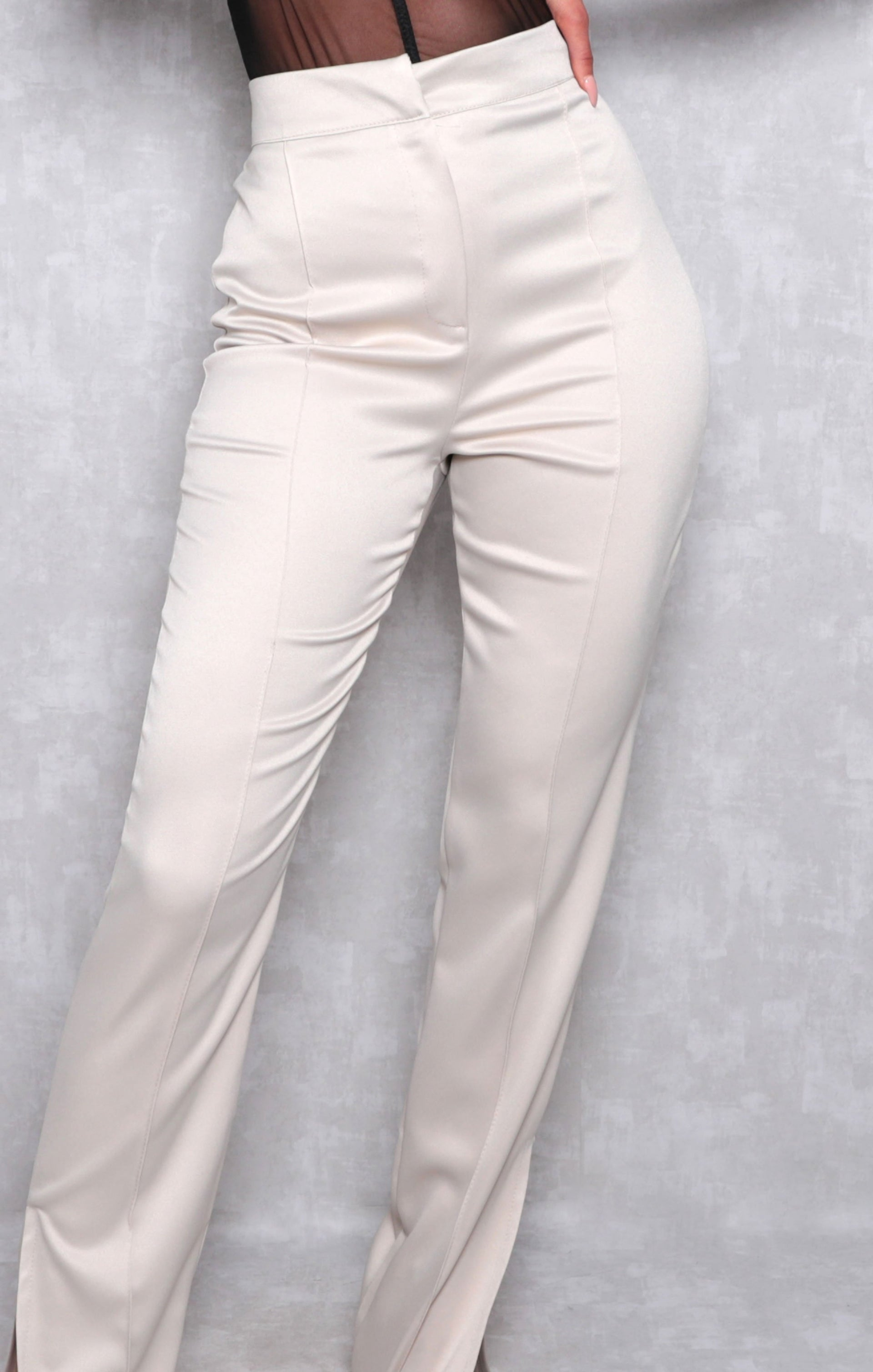 Stone Satin High Waisted Wide Leg Trousers - North