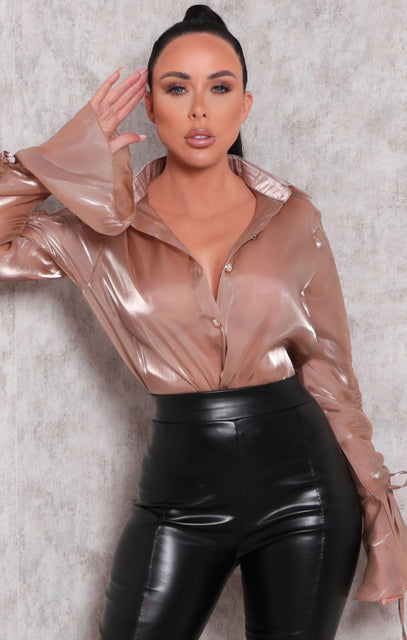 Tan Organza Ruched Sleeve Button Up Top - Bayre