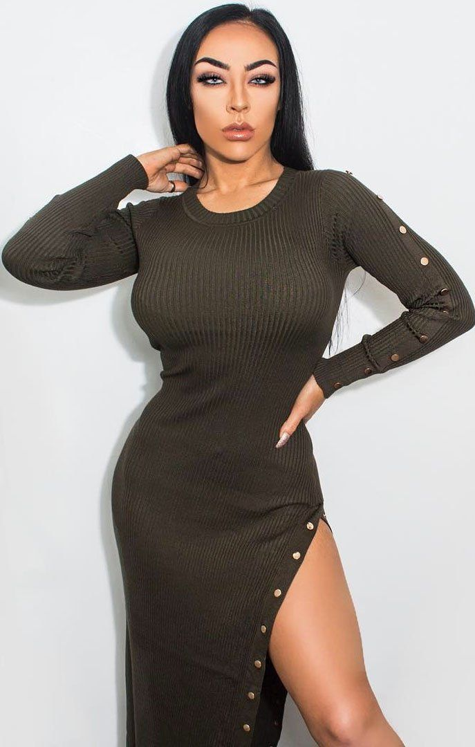 Khaki Ribbed Bodycon Maxi Dress