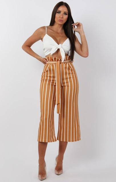 Mustard Striped Paper Bag Culotte Trousers - Casey