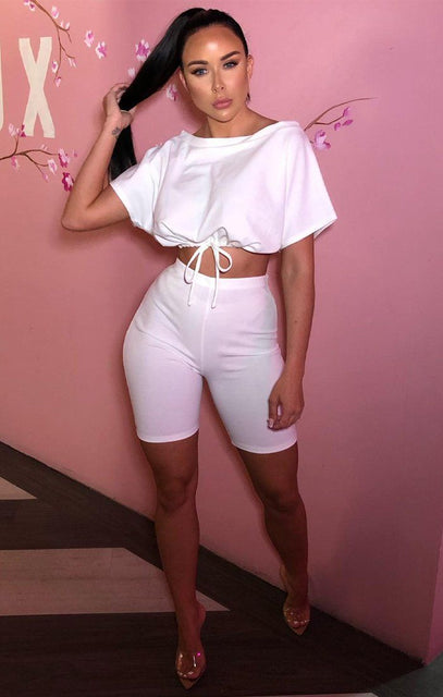 White Bardot Elasticated Crop Top & Cycling Shorts Co-ord - Adira