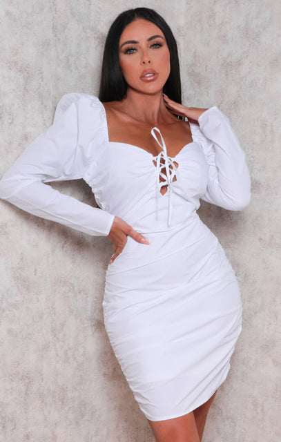 White Bardot Lace Up Front Ruched Bodycon Mini Dress - Remy