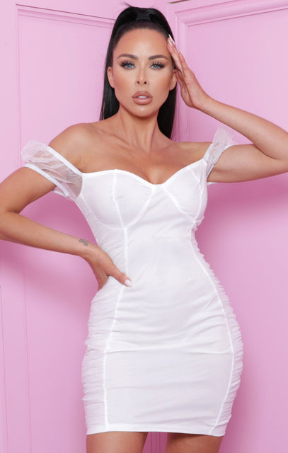 White Bardot Mesh Bodycon Mini Dress - Sonny