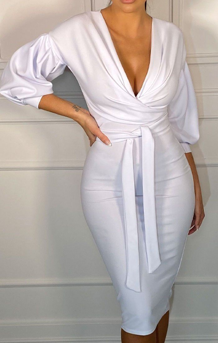 White Belted Bodycon Midi Dress - Angelica