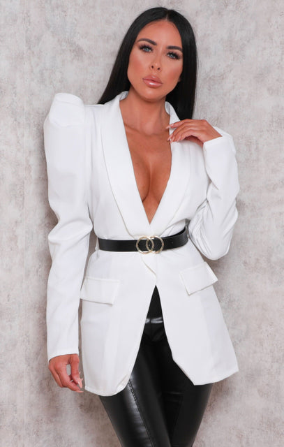White Belted Padded Shoulder Blazer Top - Denise