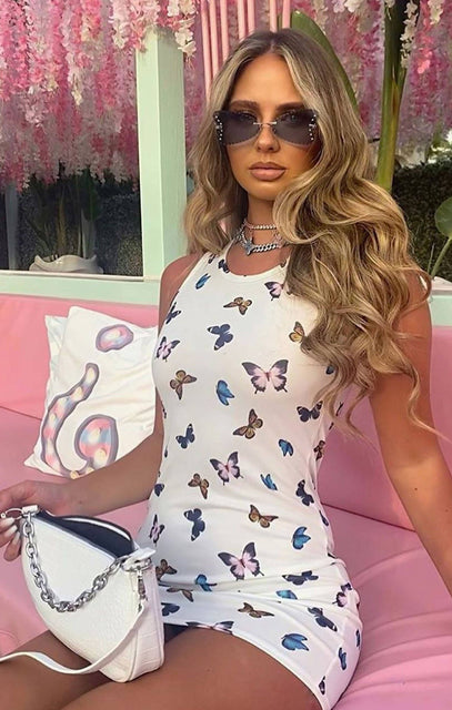 White Butterfly Print Sleeveless Bodycon Mini Dress - Monica