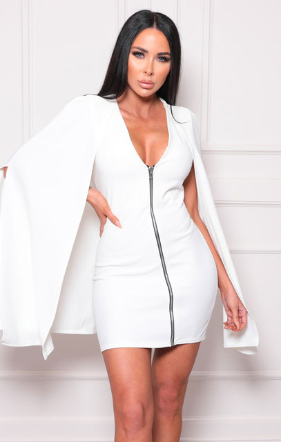 White Cape Extreme Sleeve Bodycon Mini Dress - Arabella