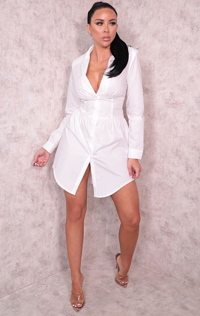 White Corset Long Sleeve Mini Blazer Dress - Anwen