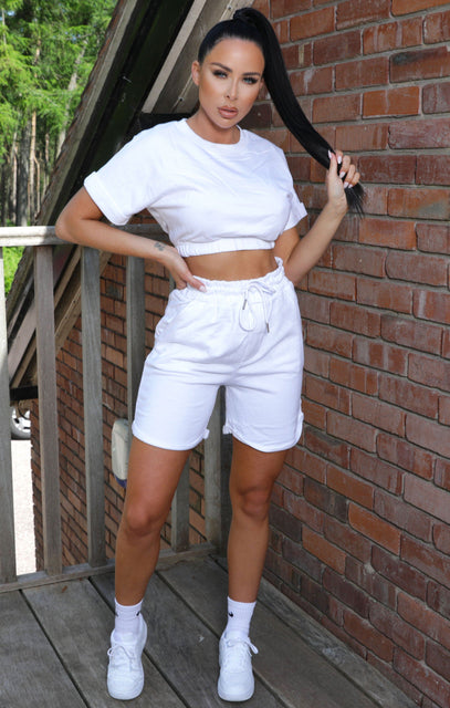 White Crop Top Drawstring Shorts Co-ord - Nicola