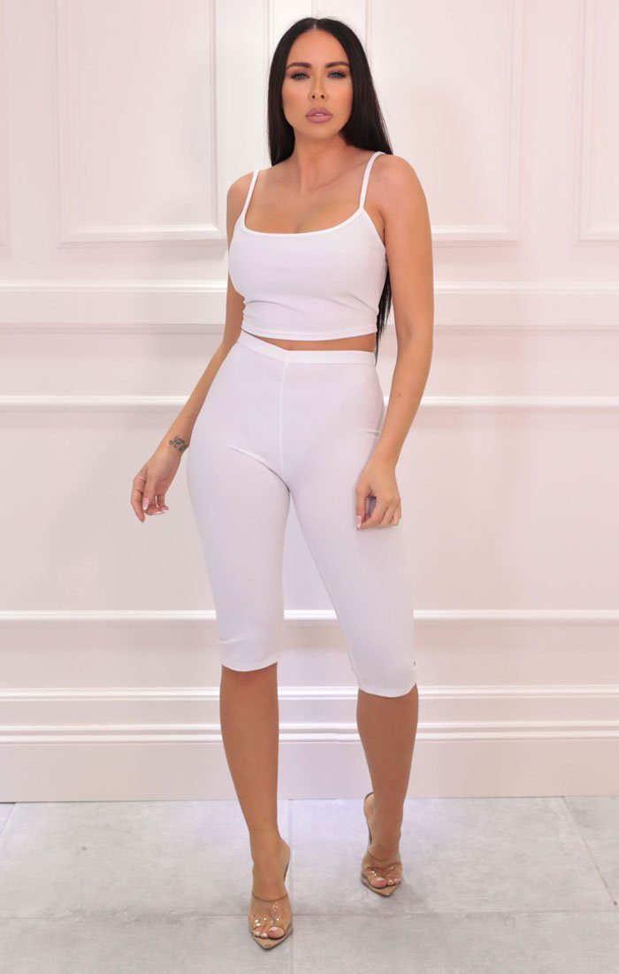 White Cropped Cycling Shorts Strappy Top Co-ord - Aofie