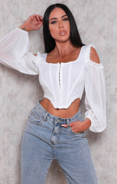 White Cut Out Shoulder Structured Mesh Sleeve Crop Top - Dallas