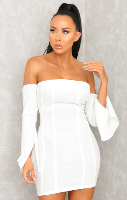 White Exposed Seams Bandeau Dress - Ivy
