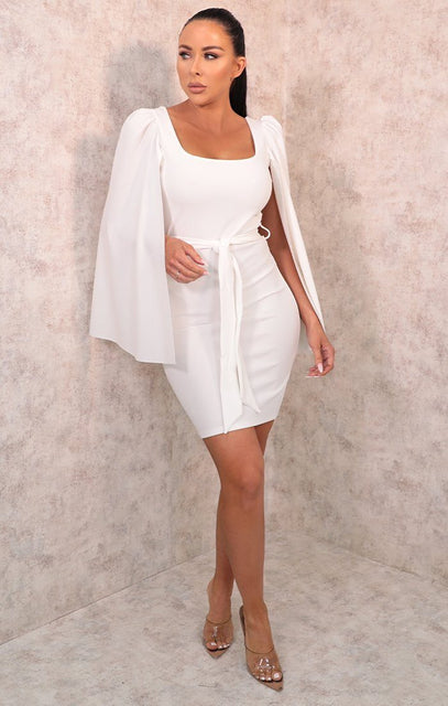 White Extreme Flare Sleeve Belted Bodycon Mini Dress - Aria