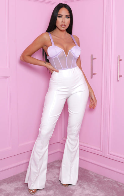 White Faux Leather High Waisted Flare Leg Trousers - Belinda