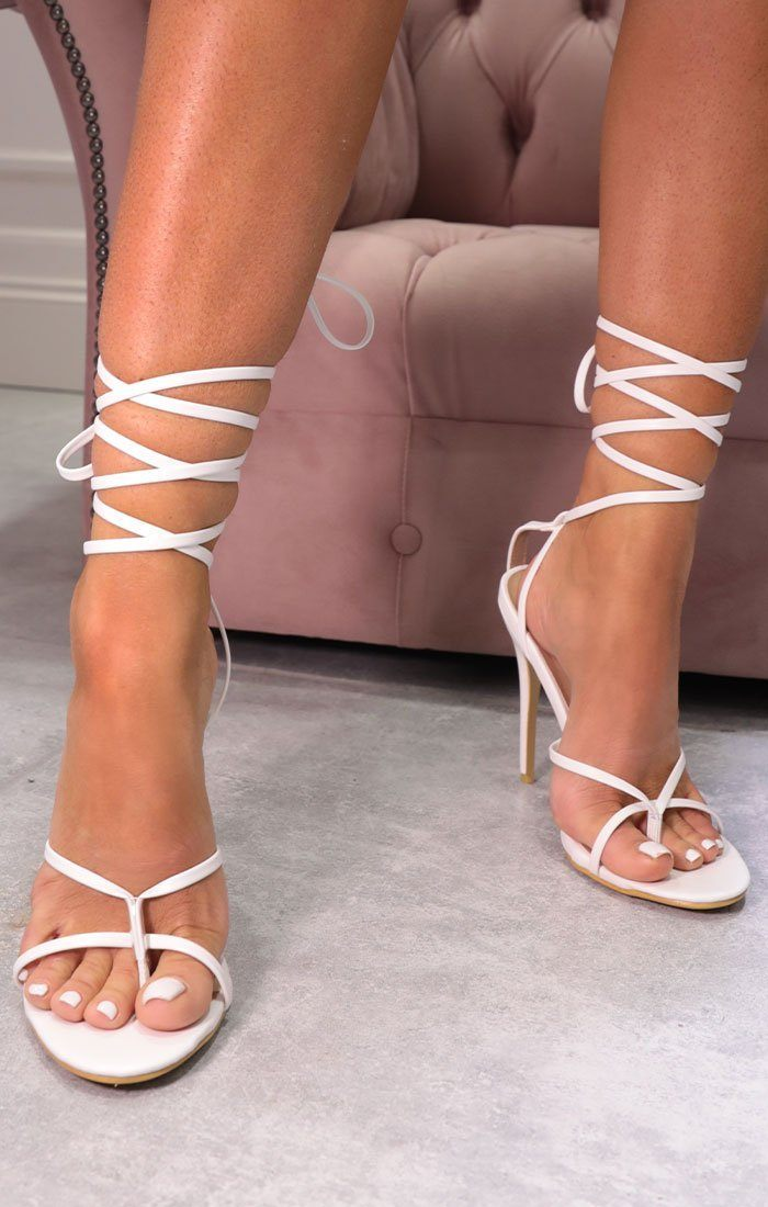 White Faux Leather Lace Up Toe Ring Heels - Grazia