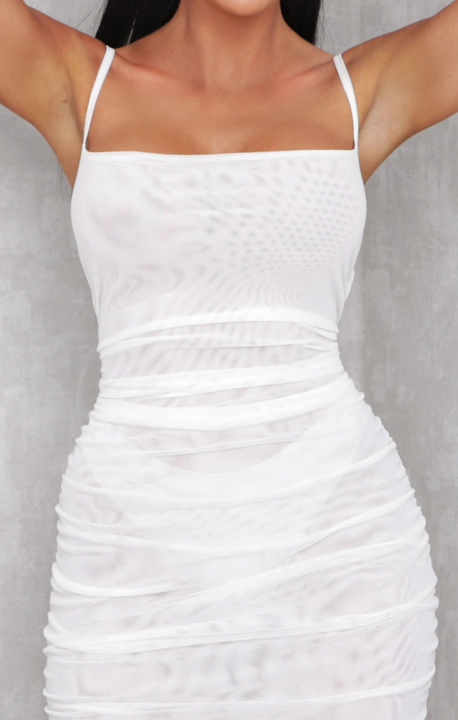 White Fishnet Mesh Ruched Mini Dress - Anat