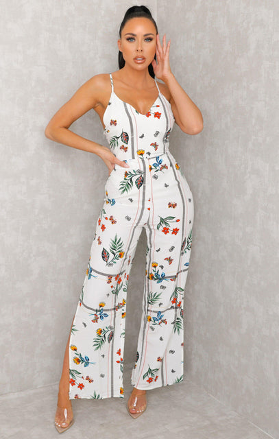 White Floral Print Plunge Strappy Jumpsuit - Kerry