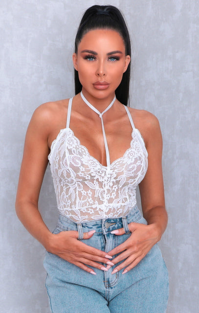White High Neck Lace Bodysuit - Ciara